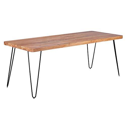 WOHNLING Esstisch BAGLI Massivholz Akazie 200 x 100 x 76 cm Esszimmer-Tisch Küchentisch modern Landhaus-Stil Holztisch mit Metallbeinen dunkel-braun Natur-Produkt Massivholzmöbel Echt-Holz unbehandelt