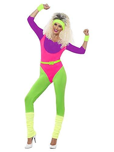 shoperama 80er Jahre Neon Gymnastik-Jumpsuit Damen Aerobic-Anzug Kostüm Trash Bad Taste Sport Work Out, Größe:M
