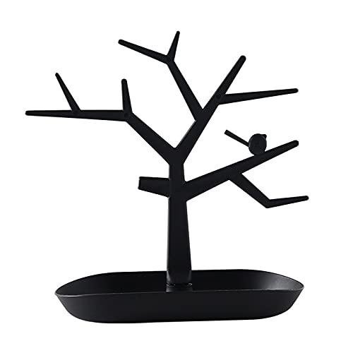 ASDF Expositor para Joyas Ciervo Árbol Soporte para Pendientes Pulseras Collares Ciervo Cornamenta Árbol Pulsera Collar Organizador,Negro