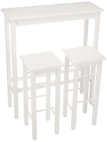 AmazonBasics – Juego de mesa auxiliar y taburetes de desayuno, 3piezas, Blanco
