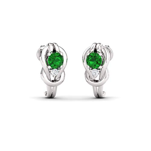 Diamondere Natural and Certified Emerald and Diamond Knot Stud Earrings in 9ct White Gold | 0.88 Carat Earrings for Women