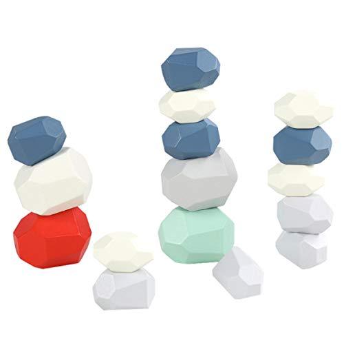SZETOSY Juego de Bloques de construcción de Equilibrio de Madera - 16 Piezas de Bloques de Equilibrio de Piedra de Madera de Colores Juego de apilamiento Bloques de Roca Rompecabezas Educativo