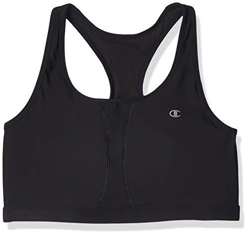 Champion Women's Plus-Size Vented Compression Sports Bra, Black, 2X Large