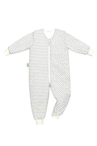 Set Odenwälder BabyNest Schlafsack mit Füße & Windel Blaubaer, Kinderschlafsack mit Füßen, Winterschlafsack mit Ärmel abknöpfbar, Schlafsäcke Baby, Größe:86/92, Design:stripes grey