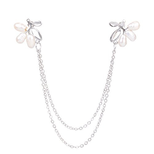 OBONNIE Natural Pearl Fruit Silver Leaf Flower Life Tree Brooch Collar Pin Skirt Lapel Pin with Chain