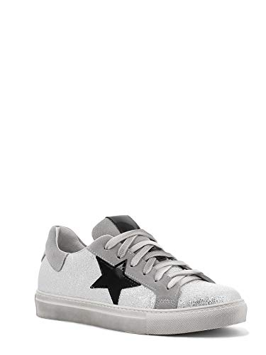 Once Leder-Sneaker mit Stern und Schnürung, hergestellt in Italien, Farbe Silber, Silber - 1038 Rocher Oro Bianco Nero - Größe: 39 EU