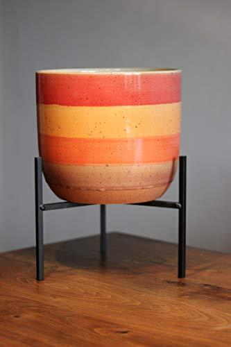 Bloempot op standaard Ecolo, oranje, stoneware, grote uitvoering, bovenpot