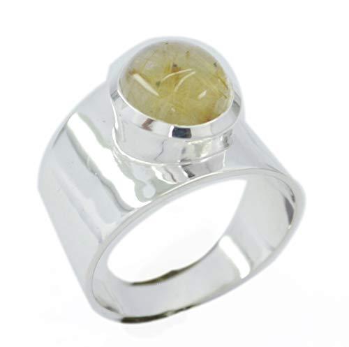 riyo normalerweise 925er Sterlingsilber gefälliger natürlicher Multi-Ring, Rutilquarz-Multi-Edelstein-Silberring