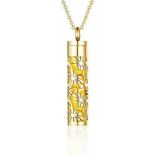 Aromatherapie-Halskette Öl Diffusorglaspads Aromatherapie Medaillon Halskette Schmuck Edelstahl Schraube Ätherisches Öl Diffusor Anhänger Für-Rose Gold Ngo19.
