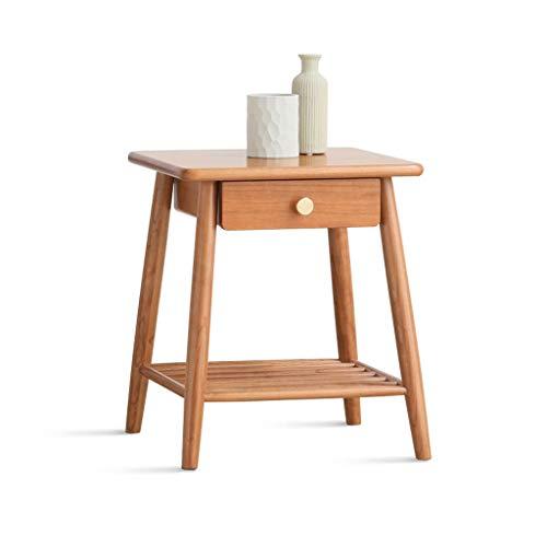 jiji Mesa auxiliar nórdica de doble capa cuadrada creativa con cajón, mesa auxiliar para el hogar, dormitorio, mesa de té, sala de estar, sofá, mesa de café (tamaño: 40 x 40 x 47 cm)