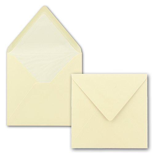 25 x Briefumschläge Quadratisch 16 x 16 cm in Vanille - Umschläge mit weißem Seidenfutter - Kuverts ohne Fenster & Nassklebung - 90 g/m²
