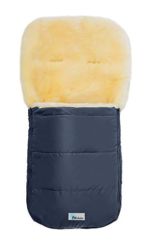 Set Altabebe MT2200LP Lammfellfußsack Nordkap & Windel Blaubaer, Baby Winterfußsack 9-36kg, Fußsack für Kinderwagen Buggy Babyschale, Fußsack mit echten Lammfell, Design:marine