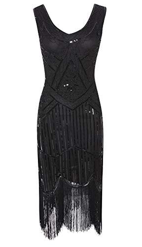 Viloree 1920 Pailletten verschönert Quasten Falten Flapper Damen Mini Kleid Party Gastby Motto Schwarz S