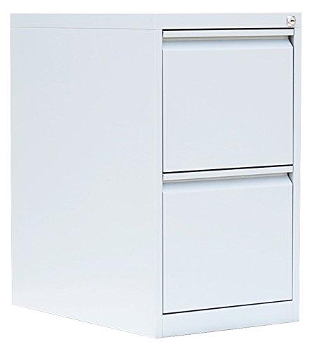 Profi Stahl Büro Hängeregistratur Schrank Bürocontainer 700 x 400 x 620mm (HxBxT) mit 2 Schüben, einbahnig 560217 Weiß kompl. montiert und verschweißt