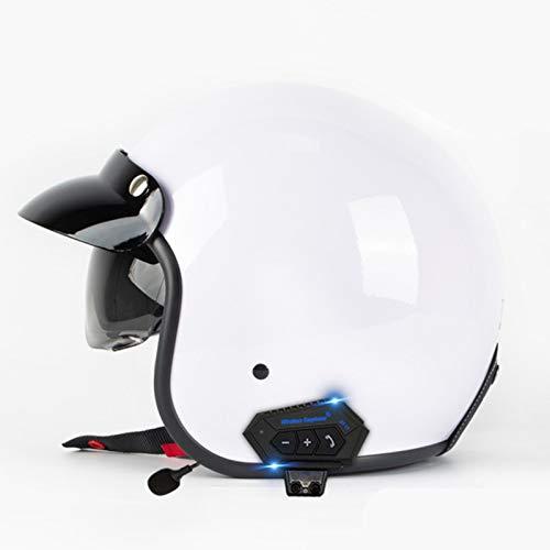 Medio Casco con Visera Cascos Half-Helmet Bluetooth Casco Moto Jet Adulto ECE Homologado Casco Moto Abierto Custom Scooter Vintage Ciclomotor Motocicleta Helmet para Hombre Mujer B,L
