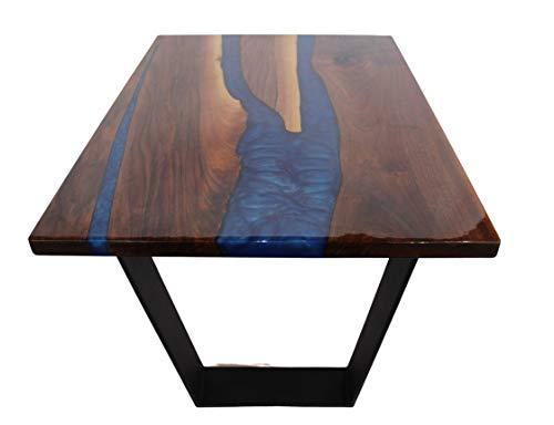 Tavolino in Legno di noce e Resina Tavolo da salotto moderno (Gambe in Ferro a V)