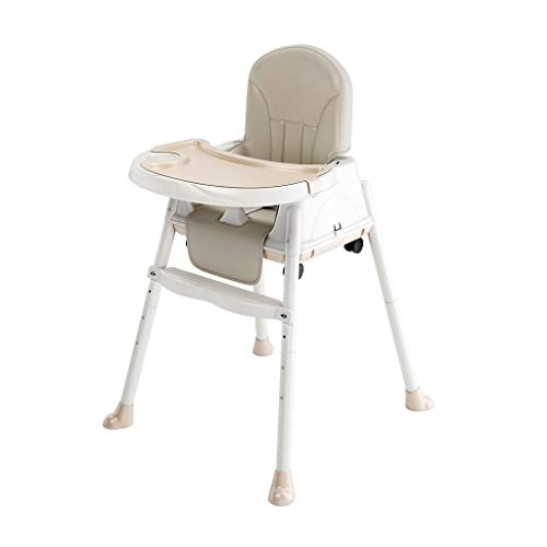 Silla alta for bebés 2 en 1 con bandeja - Trona for bebé ajustable Desmontaje plegable for bebés & Silla de comedor for niños pequeños con placa (Color : Beige)