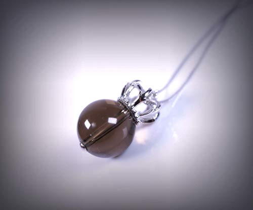 Large Natural Smoky Quartz Necklace Sterling Silver Royal Crown Smoky Quartz Pendant Luxury Crystal Healing For Women Girls