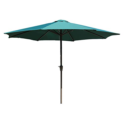 HYDT Sombrilla de Patio Market Parasol Sombrilla para Mesa Al Aire Libre, Sombrilla con Dosel de 9 Pies con Botón de Inclinación y Manivela, sin Base (Color : Green)