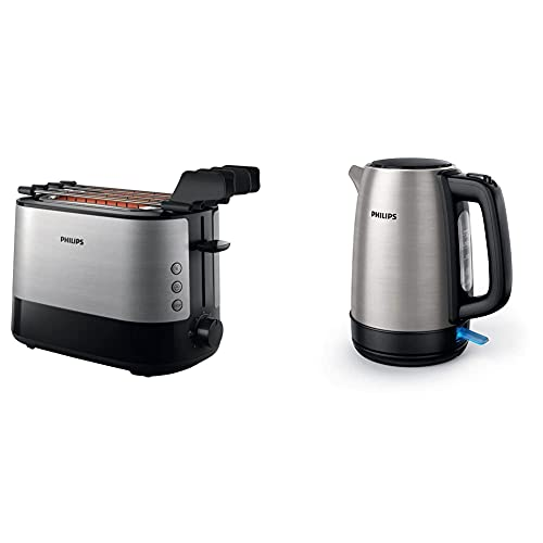 Philips HD2639/90 – Toaster (730 W, Extra Large Slot, Sandwich Accessories), Black and Silver [Energy Class A] & HD9350/90 Wasserkocher (2200 Watt, 1.7 Liter, Edelstahl)[Energieklasse A+++]