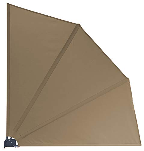 GRASEKAMP Qualität seit 1972 Balkonfächer 120 x 120 cm Taupe mit Wandhalterung Schutzhülle Trennwand Sichtschutz