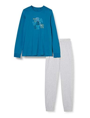 Schiesser Jungen Schlafanzug lang Pyjamaset, Petrol, 164