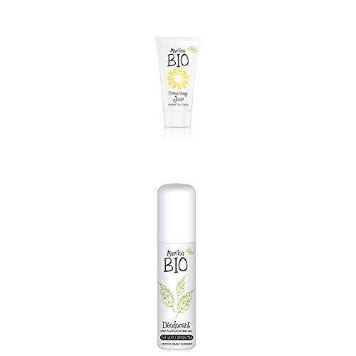 Duo de produit de beauté MARILOU BIO - Gamme classic -Crème de Jour - Déodorant thé vert