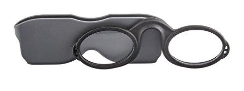 Edison & King Gafas de Lectura para Colgar - Modernos quevedos de plástico con Funda y Tira Adhesiva para adherir al móvil, etc. (Gris-Negro, 1,00 dpt)