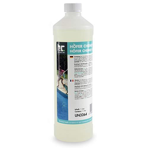Höfer Chemie 15 x 1 L Grundreiniger Pool und Schwimmbad - saurer Reiniger für Schmutzablagerungen im Schwimmbecken