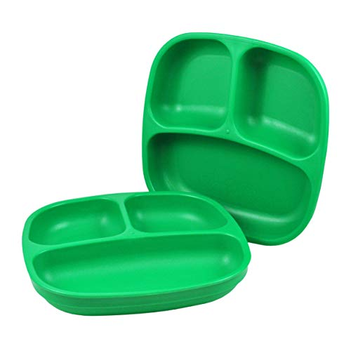 Re-Play - Juego de platos infantiles con subdivisión, 3 unidades cada uno, sin BPA. Vajilla infantil estable sostenible gracias al material reciclado (color verde claro, plato con división)