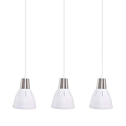 HOMCOM 3er Hängeleuchte Deckenlampe Deckenstrahler Industrie Vintage E27 40 W Küche Bar Wohnzimmer Schlafzimmer Metall weiß ∅13 x H16 cm (ohne Birne)