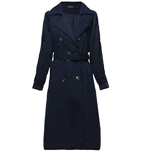 AAADRESSES Trenchcoat Damen Jacke Große Größen Herbst Winter Lang Outwear Slim-Fit-Herbstmantel Mit Revers,Blau,L