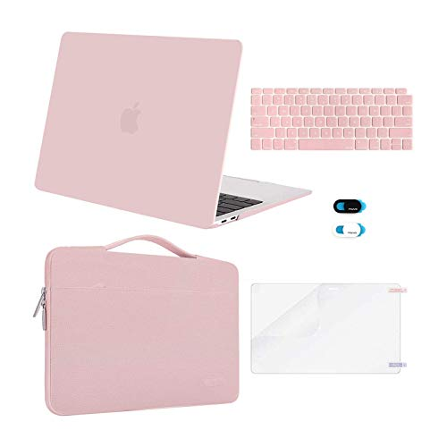 MOSISO MacBook Air 13 inch Case 2020 2019 2018 Release A2337 M1 A2179 A1932,Plastic Hard Case&Bag&Keyboard Skin&Webcam Cover&Screen Protector Compatible with MacBook Air 13 inch Retina, Rose Quartz