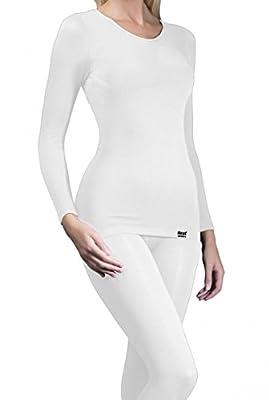 HEAT HOLDERS Women's Thermal Base Layer Ski Underwear Long Sleeve Vest White S/M by