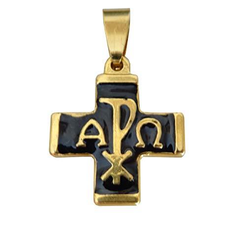 Christliche Religion, sehr schönes Kreuz, emailliert, Chrismus von Alpha und Omega und sein Lederband