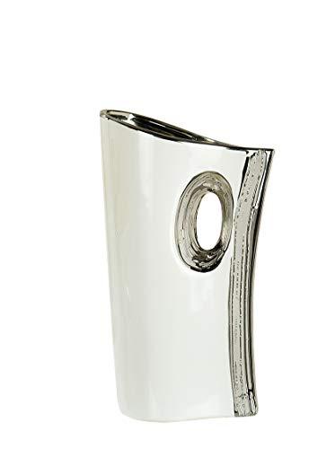 Moderne Deko Vase Blumenvase Tischvase aus Keramik weiß/silber Höhe 20 cm
