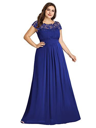 Ever-Pretty Womens Plus Size Floor-Length Black Tie Evening Party Dresses Sapphire Blue US 22