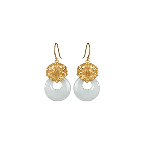 GaYouny Earings S925 Silver Chapado En Pendientes De Jade Pendientes For Mujer Pendientes For Novia Cumpleaños Día De San Valentín Regalo