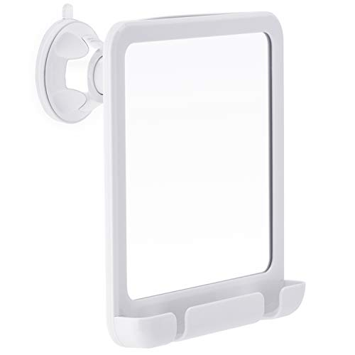 2019 Fogless Shower Mirror for Fog Free Shaving with Razor Holder, Sticky Suction-Cup and Swivel, Shatterproof and Portable, 8-Inch x 7-Inch (White)