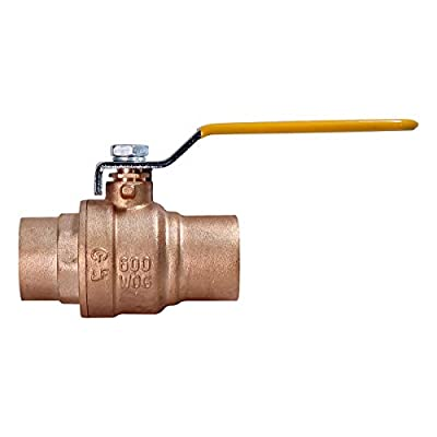 """Everflow Supplies 600C001-NL Lead Free Full Port Forged Brass Ball Valve with Solder Cups, 1"""" by Everflow Supplies"""