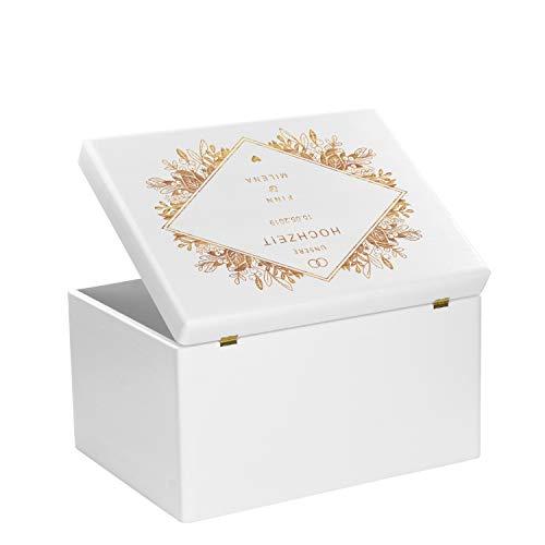 LAUBLUST Holzkiste zur Hochzeit - Florale Raute - Geschenkkiste Personalisiert mit Gravur - ca. 40x30x24cm, Weiß, FSC® - 3