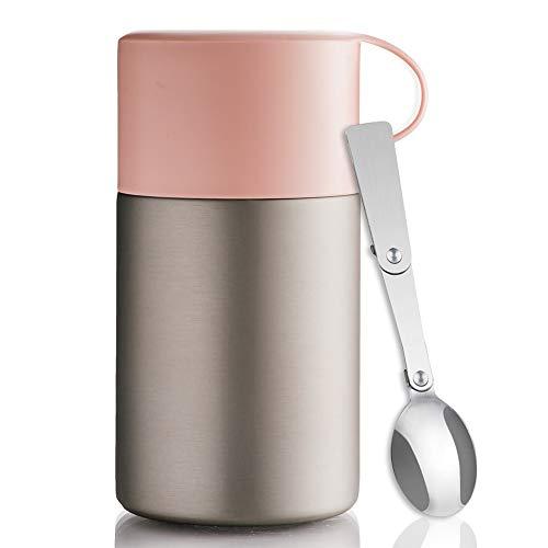 BOHORIA® WonderJar Premium Thermobehälter Lunchbox mit Löffel 600 ml | Isolierbehälter | Edelstahl | Thermo-Gefäß für Suppe, Salat, Müsli und Babynahrung | Speisebehälter Warmhaltebox Essensbox (Rose)