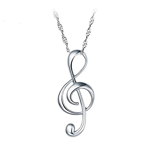 925 Sterling Silber schönen Musiknote Anhänger mit 45cm sterling silber Kette Halskette Schmuck