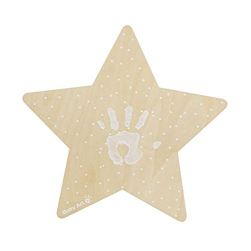 Baby Art My Baby Star Lámpara LED con kit de huellas de bebé y niños, luz nocturna personalizable con huella de maños y pies, color crema
