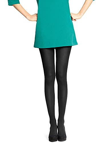 Hue Women's Super Opaque Tights with Control Top, Black, 2