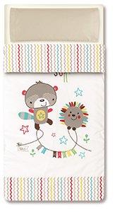 Pirulos 33013510 - Saco nórdico, diseño espin, algodón, 62 x 125 cm, color blanco y lino