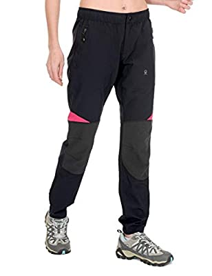 Little Donkey Andy Women's Lightweight Quick Dry Hiking Pants Reinforced Knees UPF 50 for Mountain Climbing Camping Black S
