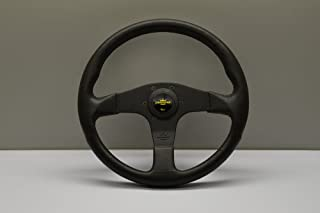 Nardi Personal Steering Wheel - Blitz - 330mm (12.99 inches) - Black Polyurethane with Black Spokes - Yellow Logo Horn Button - Part # 8474.32.2001