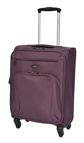 20' Cabin Suitcase Onboard Hand Luggage Expandable 4 Wheel Soft Budget Airline Bag - A243 Purple