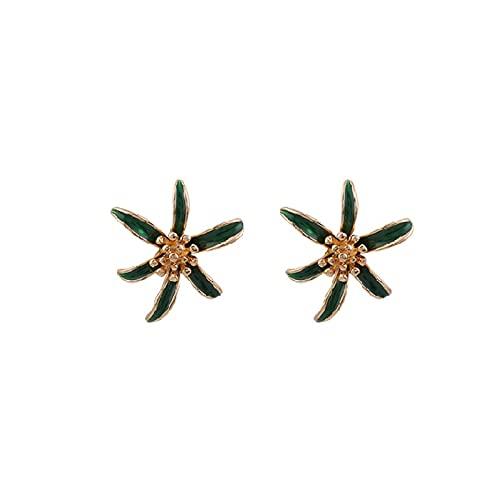 La aguja de plata S925 ama el aura de nicho pendientes de personalidad verde oscuro flores de esmalte de goteo blanco pendientes frescos y sencillos pendientes de moda